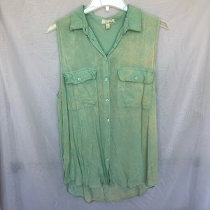 Garage | Teal Button Down Blouse Size S